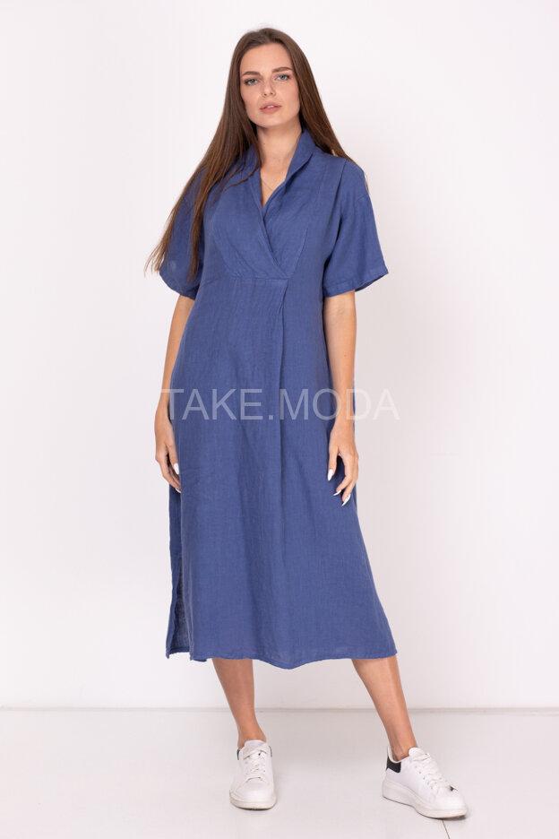 Однотонное льняное платье