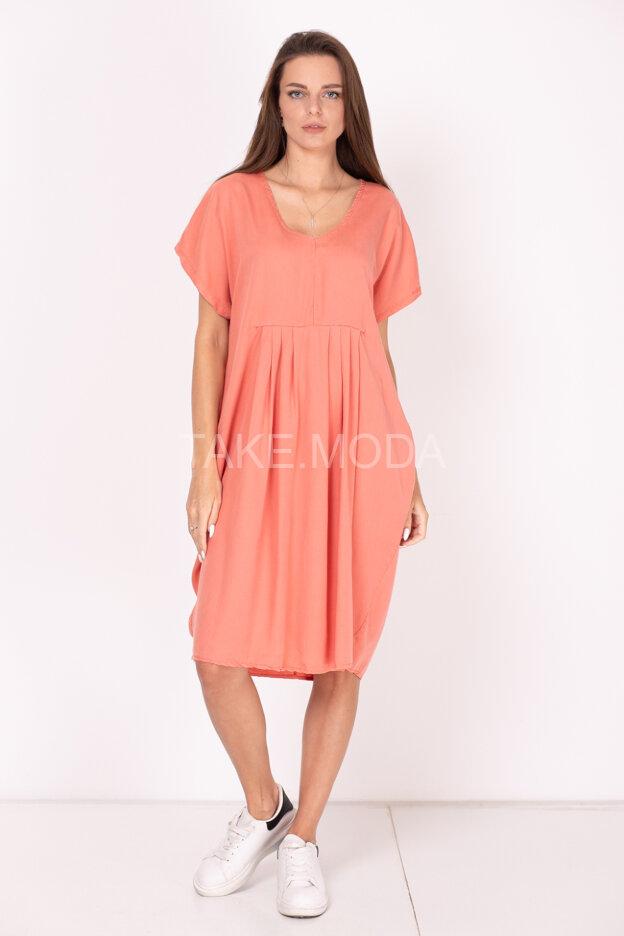 Платье из тенселя с V-вырезом горловины