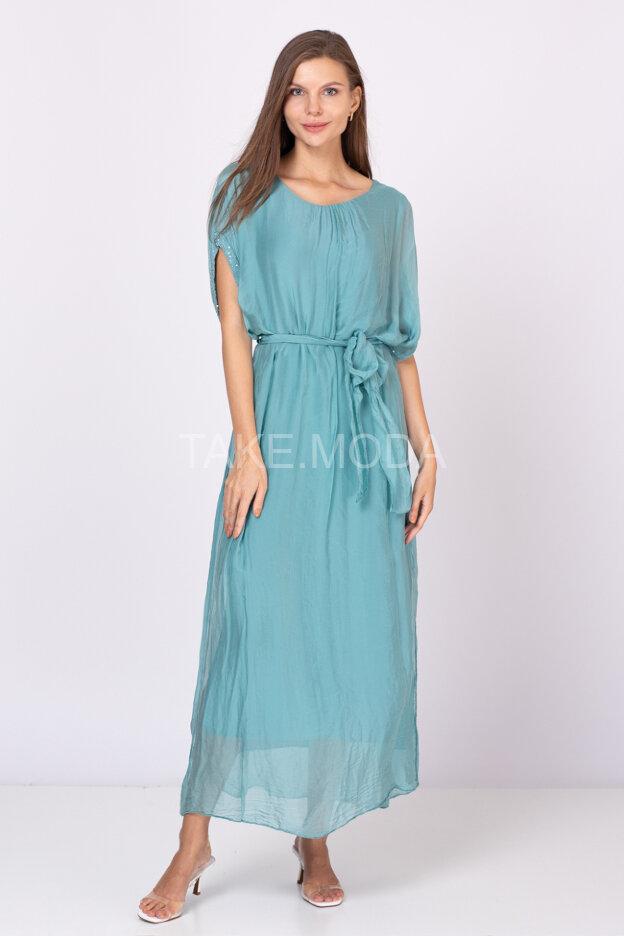 Шелковое платье макси длины