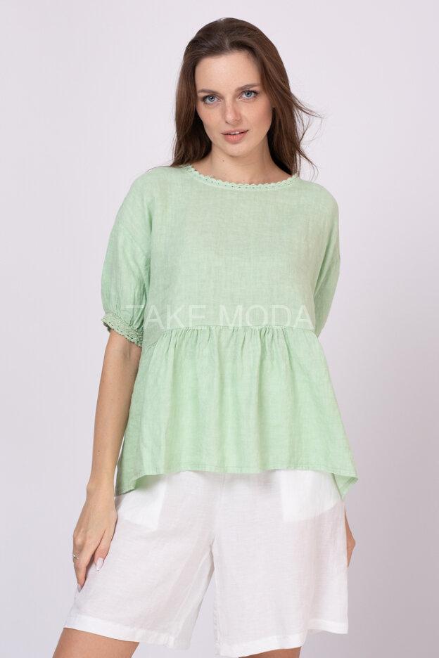 Льняная ярусная блуза