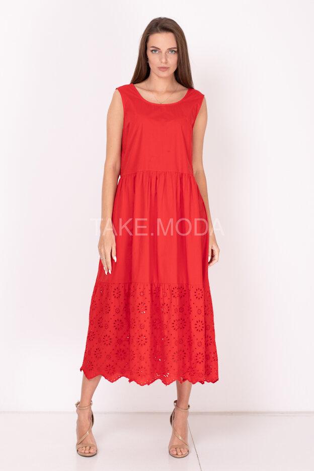 Хлопковое платье украшенное ажурным шитьем