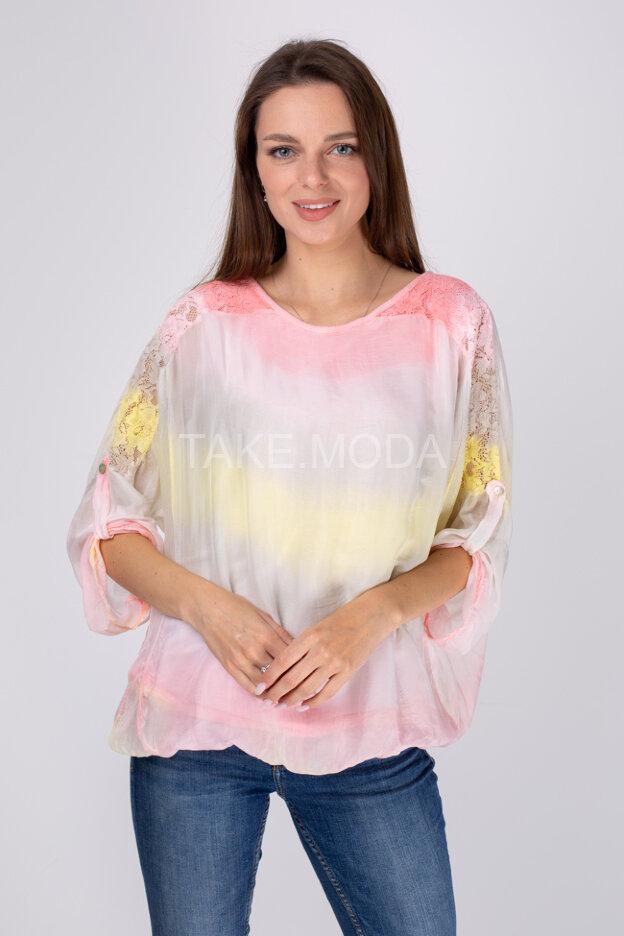 Шелковая блуза с градиентом