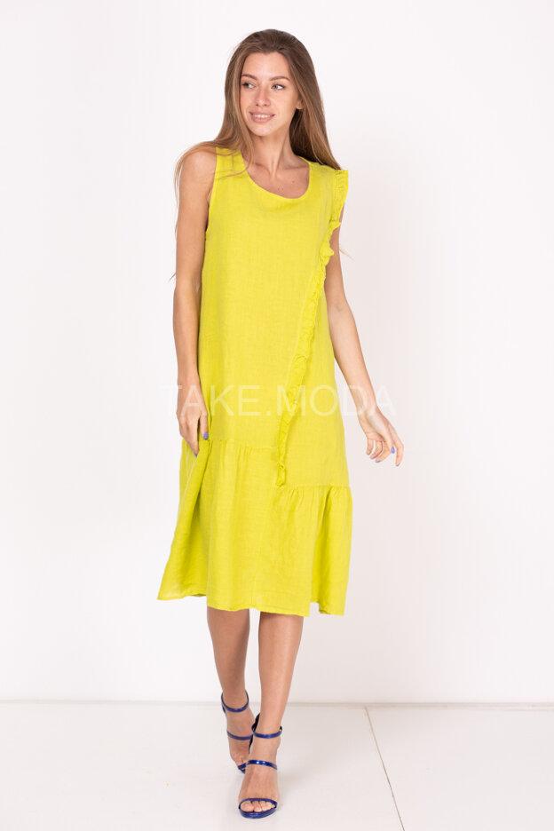 Льняное платье украшенное рюшами