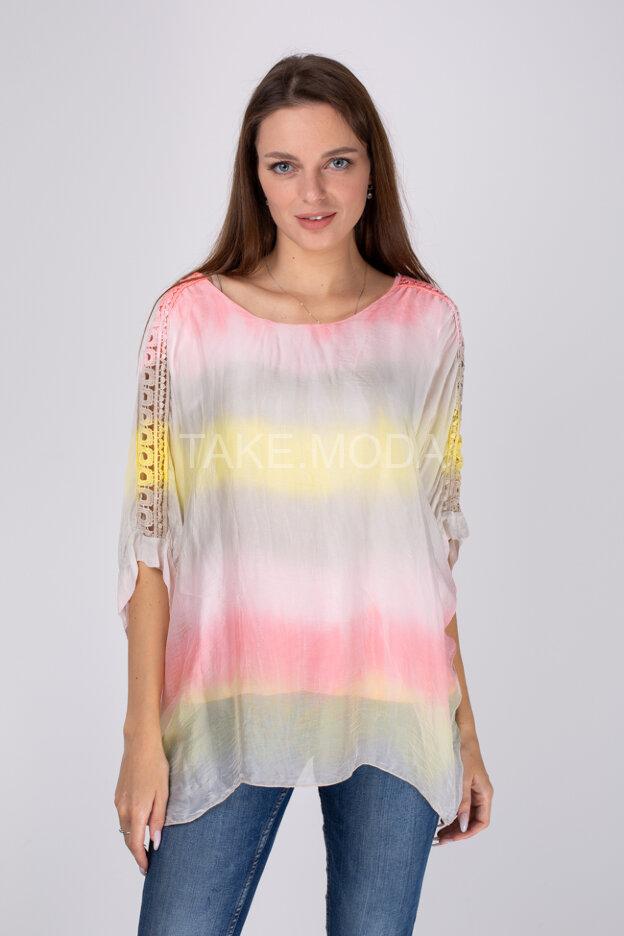Шелковая блуза с нежным градиентом