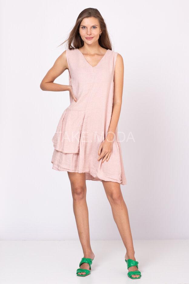 Льняное платье миди длины
