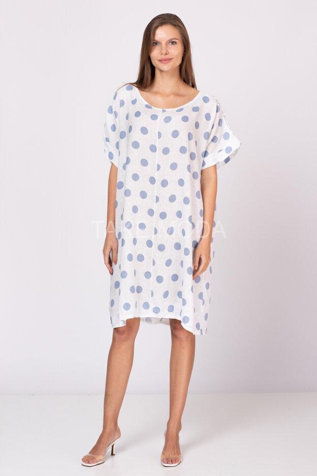 Льняное платье Oversize с принтом горох