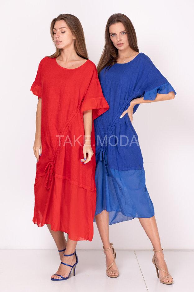 Комбинированное однотонное платье