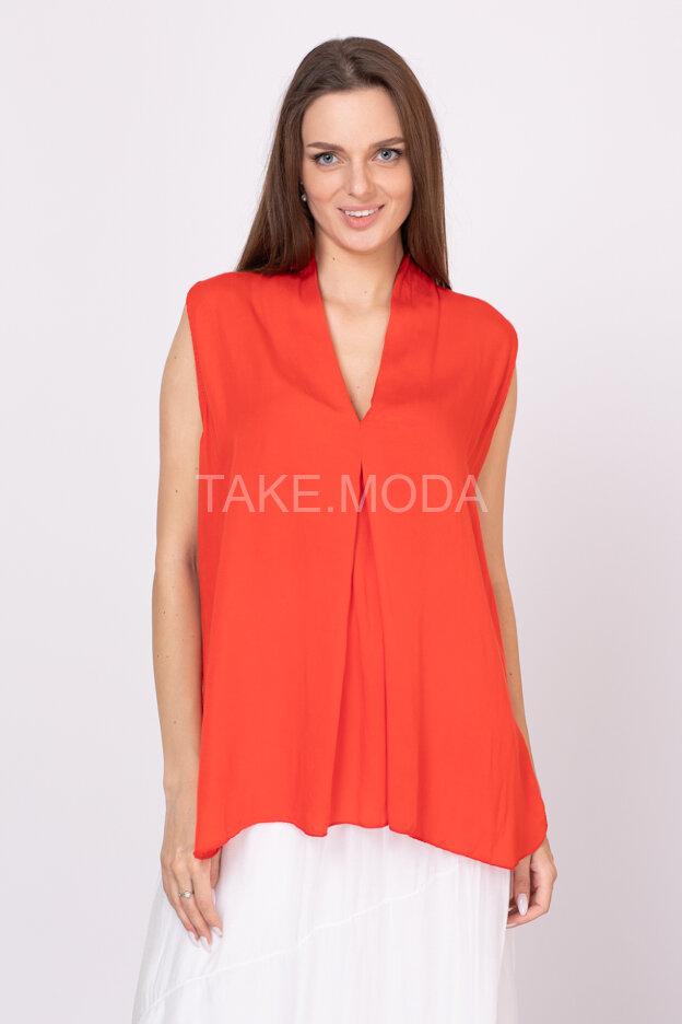 Вискозная блуза с V-вырезом