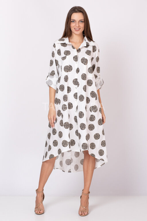 Платье-рубашка с принтом горох