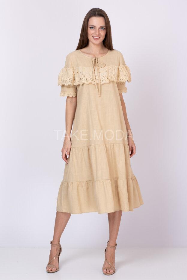 Ярусное платье украшенное воланом