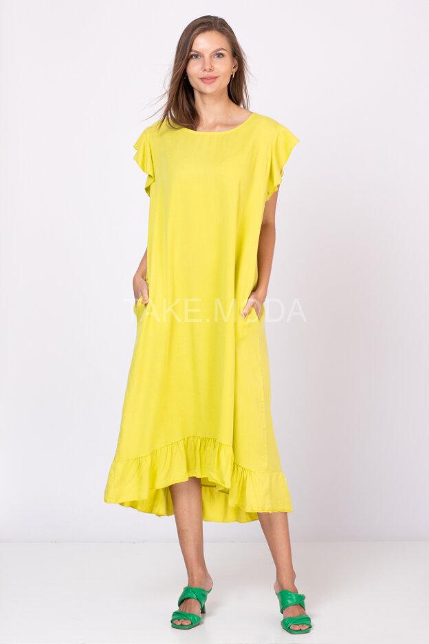 Платье из тенселя с воланом