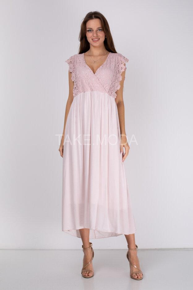 Вискозное платье с ажурным лифом
