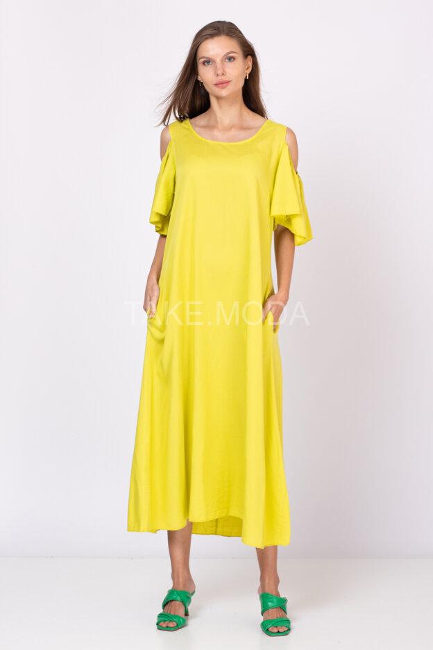 Однотонное платье с отрытыми плечиками