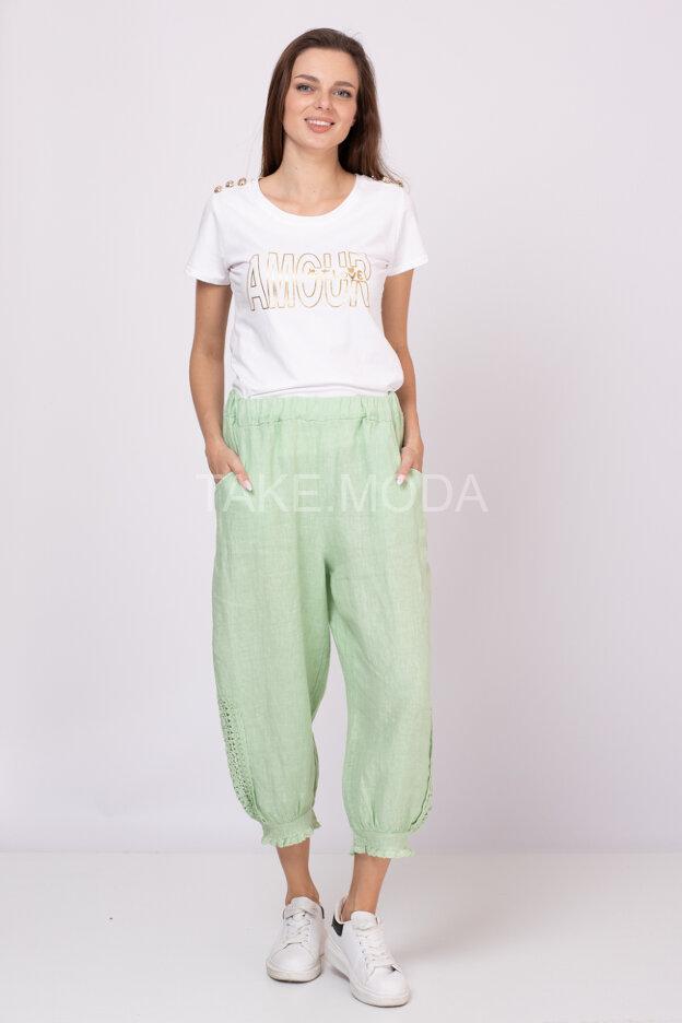 Льняные брюки с ажурными вставками