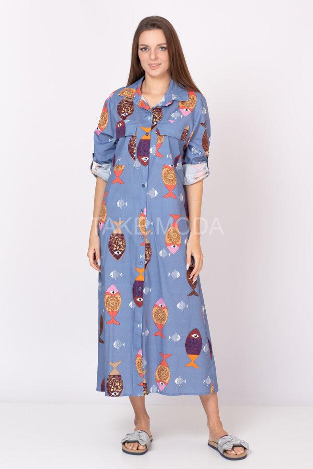Платье-рубашка с принтом рыбы