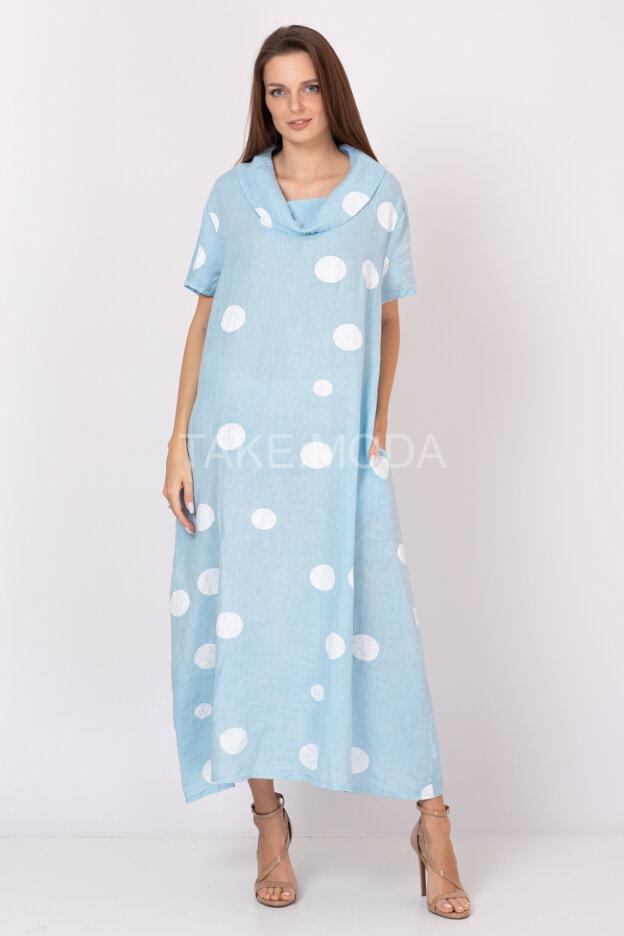 Льняное платье с принтом горох