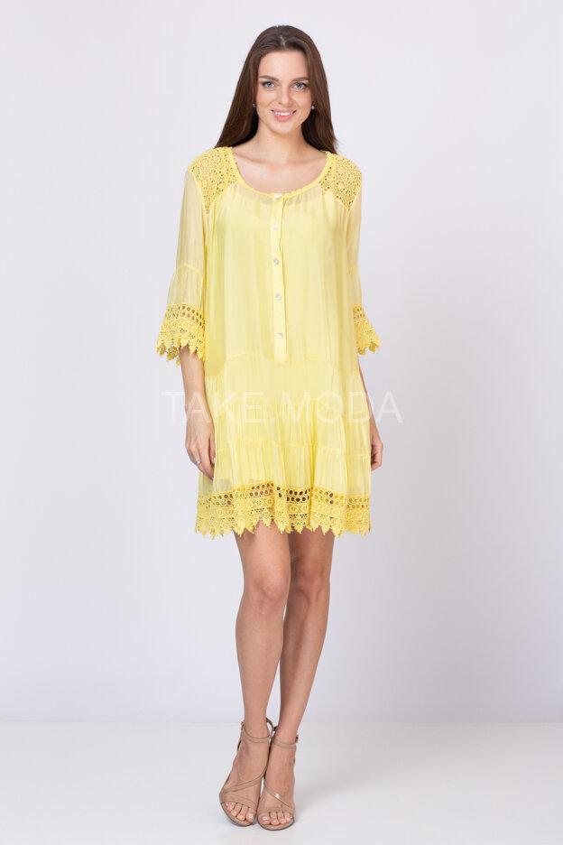 Ярусное шелковое платье с ажурными вставками