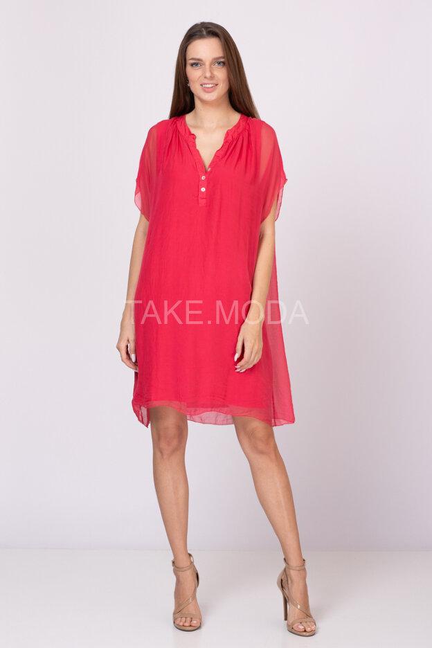 Шелковое платье с V-вырезом горловины