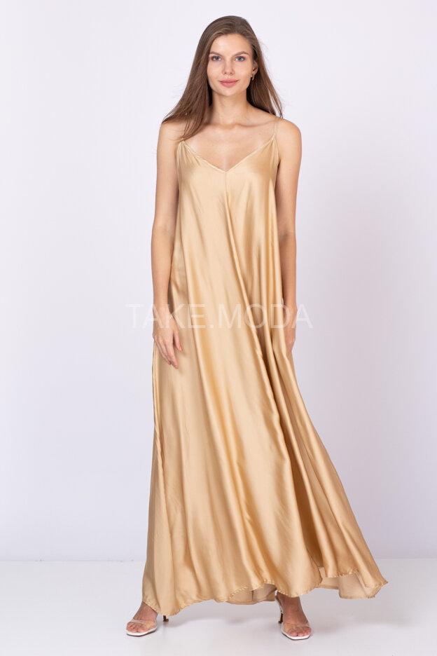 Вискозное платье на тонких бретелях