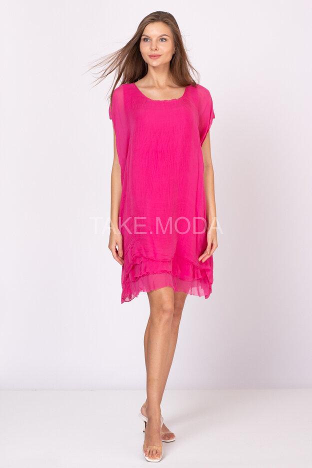 Шелковое платье с воланами по низу