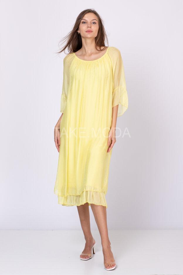 Шелковое платье миди длины
