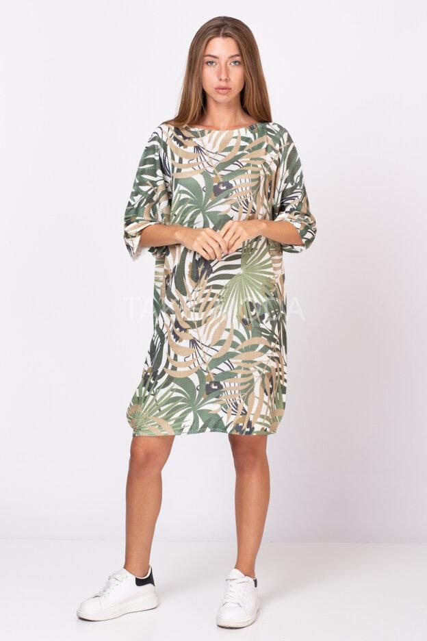 Свободное платье-туника с растительным принтом