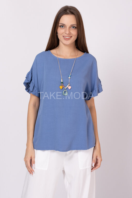Вискозная блуза с рукавом фонарик