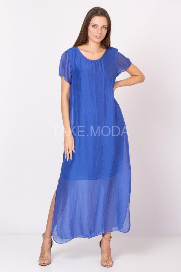 Однотонное шелковое платье прямого силуэта
