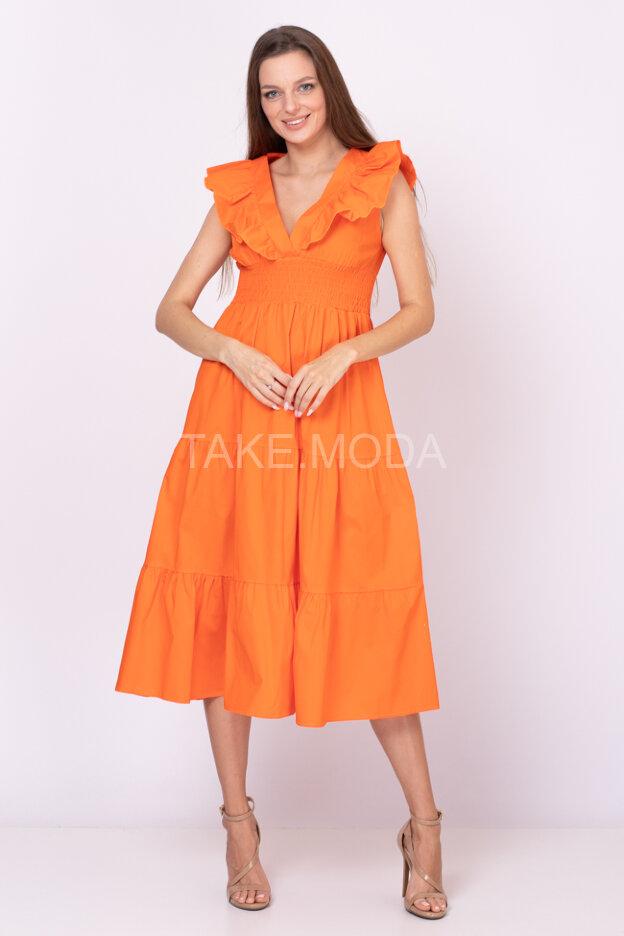 Ярусное платье украшенное воланами на груди