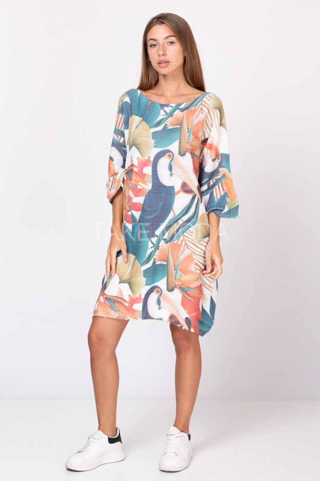 Платье-туника с принтом тропики