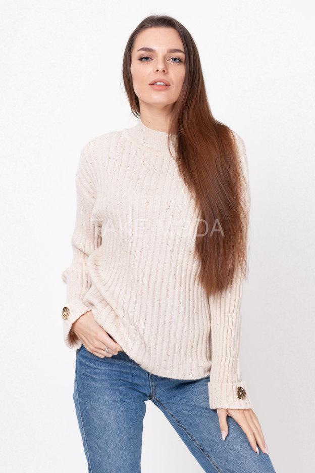 Нарядный свитер с воротником стойка