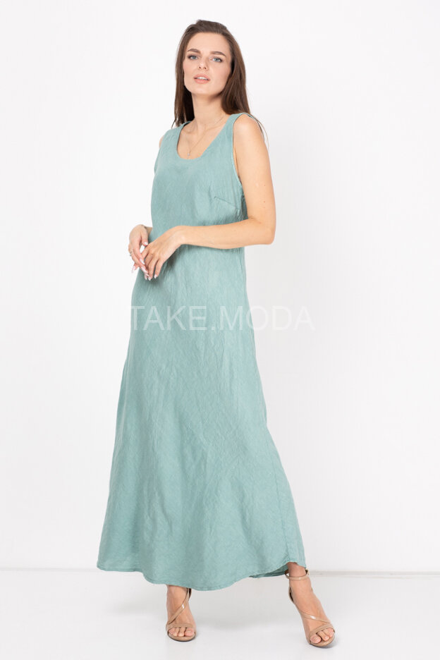 Льняное платье с завязкой на спинке