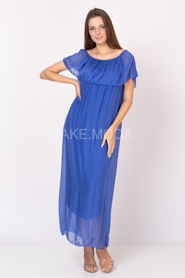 Шелковое платье украшенное воланом по груди