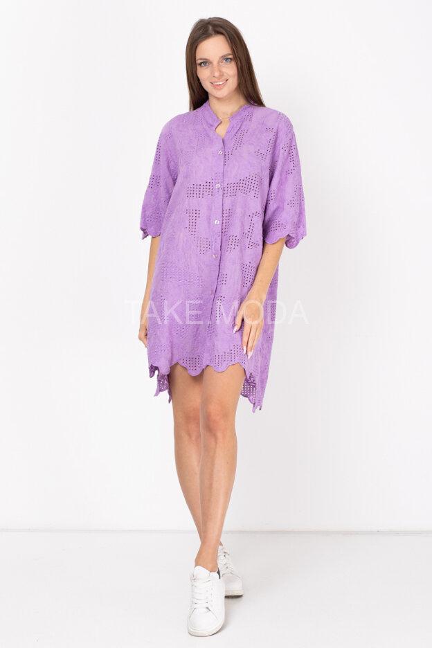 Платье-рубашка украшенное ажурным шитьем