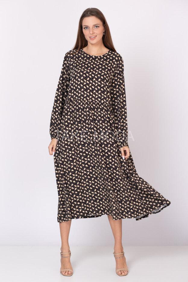 Вискозное платье с принтом турецкие огурцы