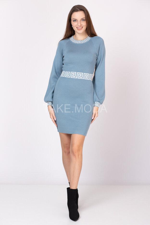Трикотажное платье резинка с рукавом реглан