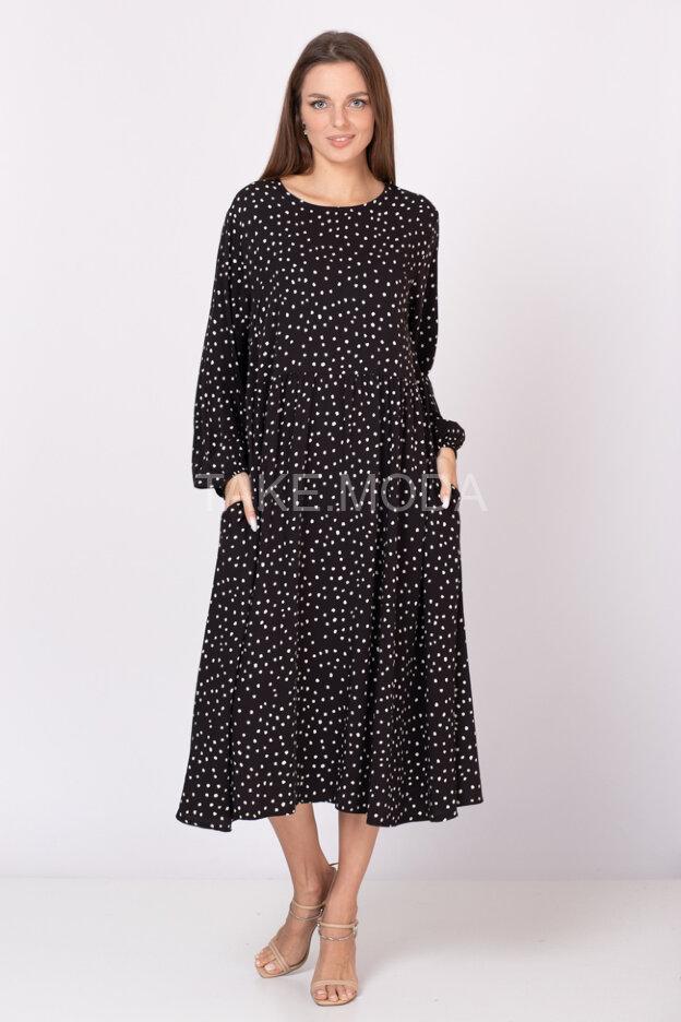 Вискозное платье с принтом горох