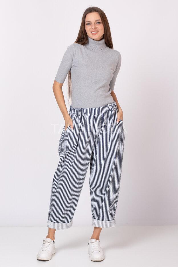 Хлопковые брюки с принтом полоска